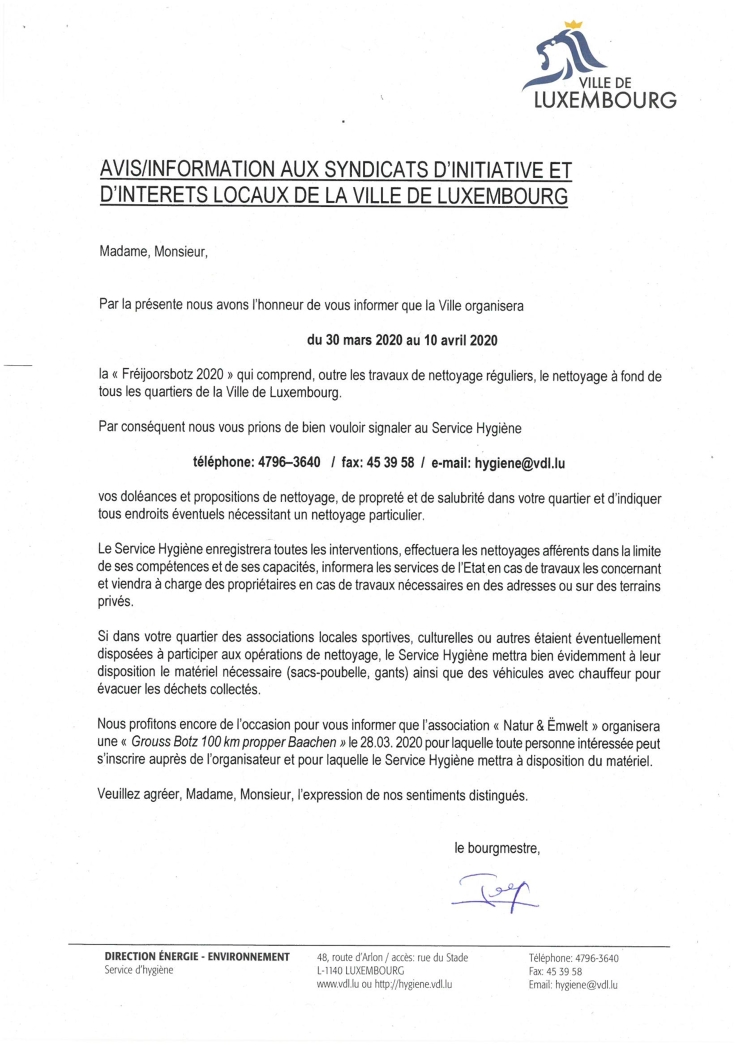 Fréijoorsbotz 2020 - avis-information